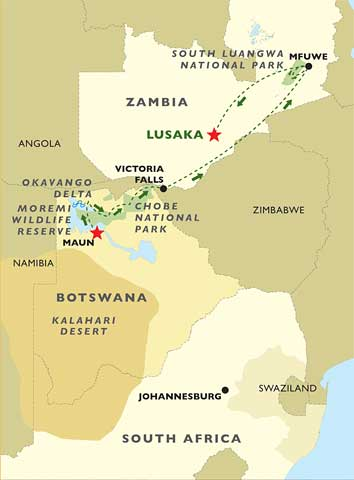 Safari Southern Africa map