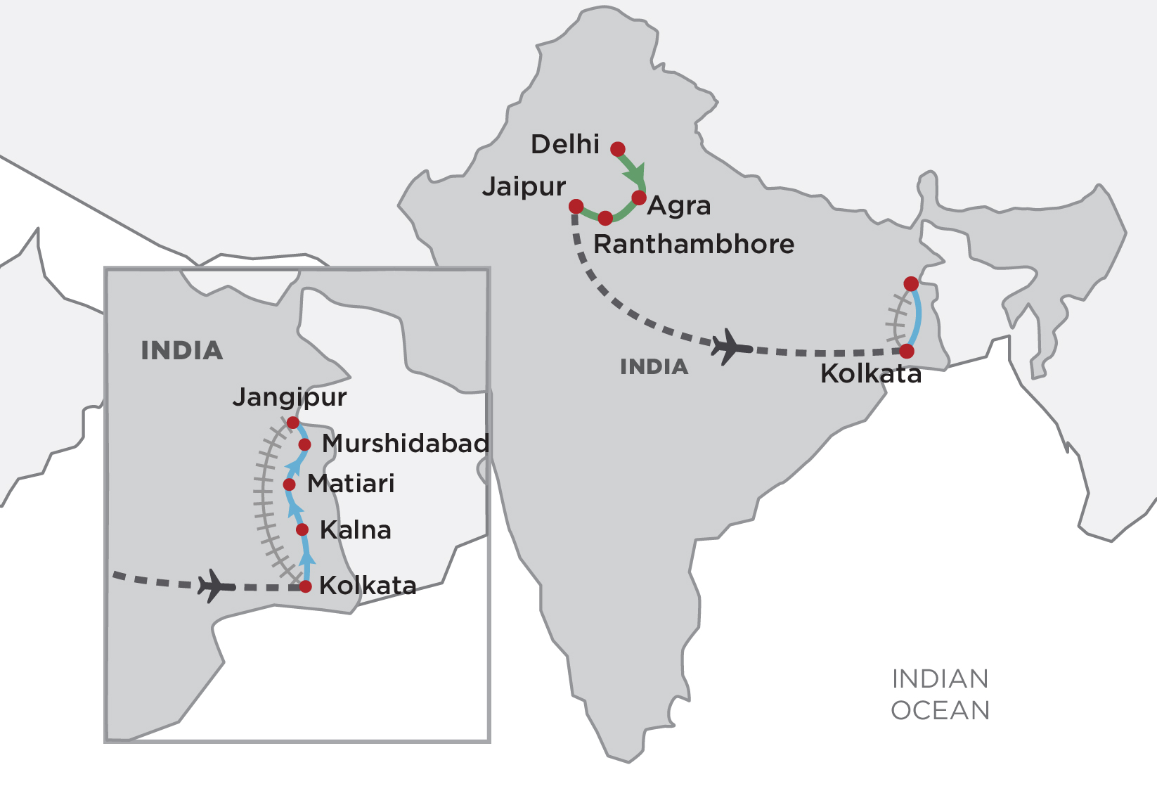 Temples, Tigers & the Ganges map