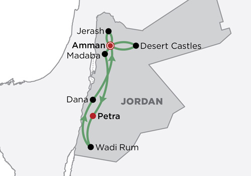 The History & Wildlife of Jordan map