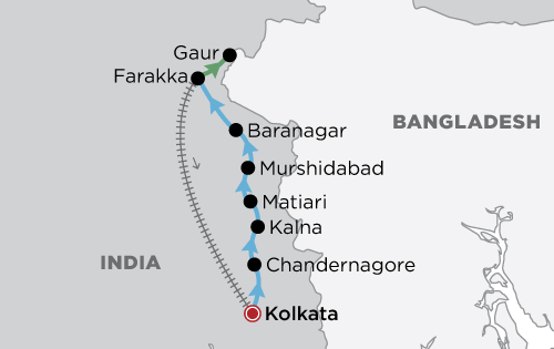 The Lower Ganges River Cruise map
