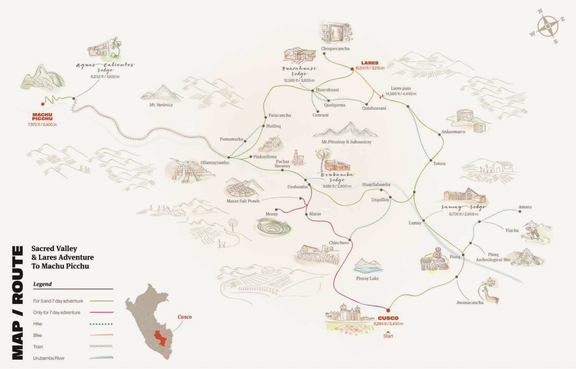 The Sacred Valley & Lares Adventure to Machu Picchu map