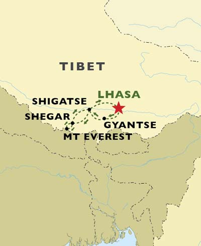 Tibetan Trails map