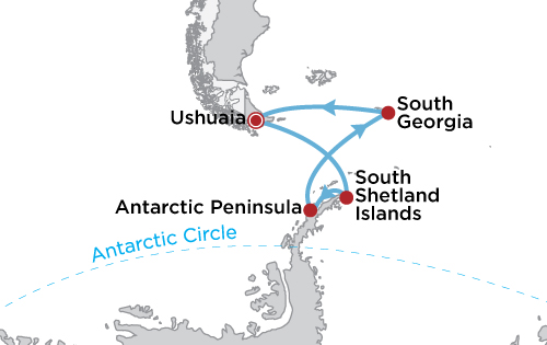 Totality in Antarctica: Solar Eclipse with South Georgia map