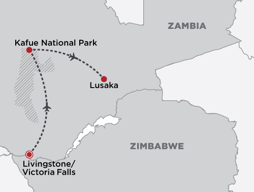 Victoria Falls and Kafue National Park map