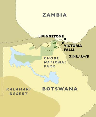 Victoria Falls and Chobe National Park map
