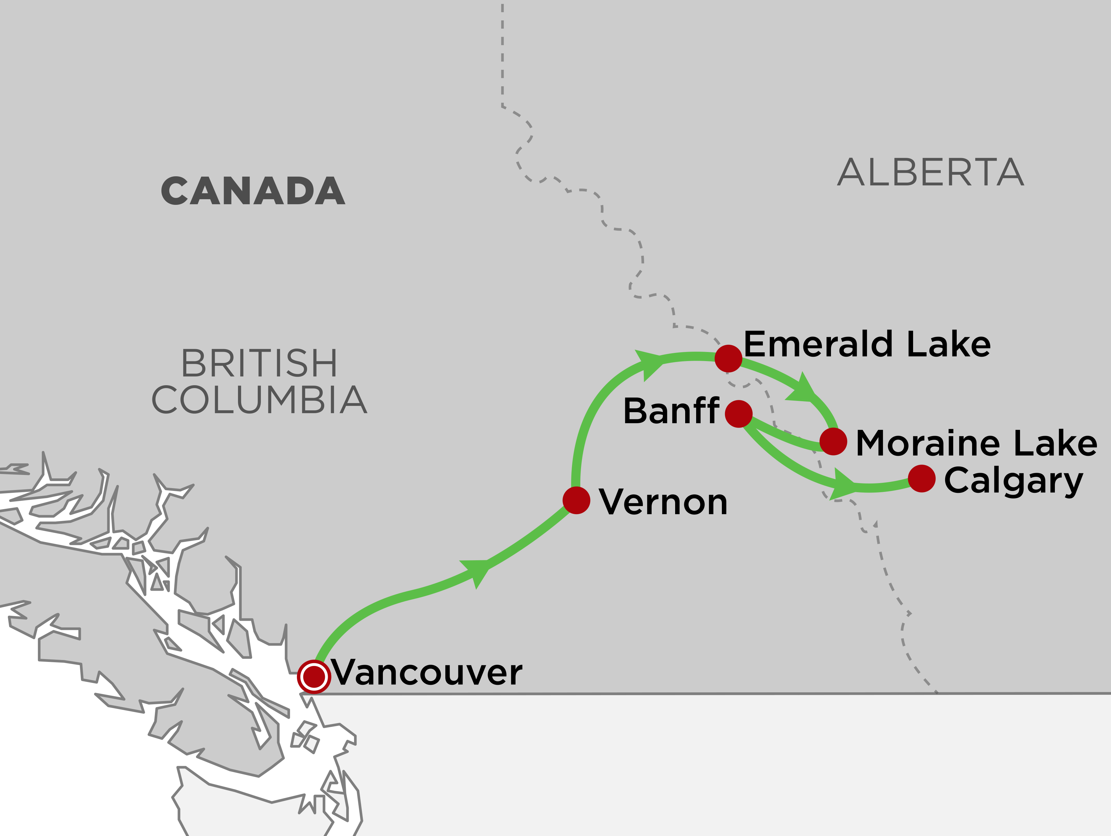Wineries & Spectacular Rockies Lodges of Western Canada Self-Drive map