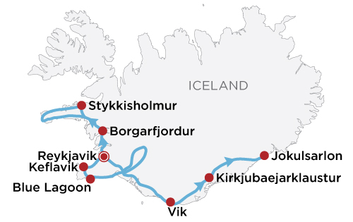 Winter Iceland Delights map